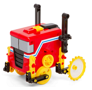 Example of 1 or 4 motorized robots that can be built with kit - red, yellow, and black power trailer robot