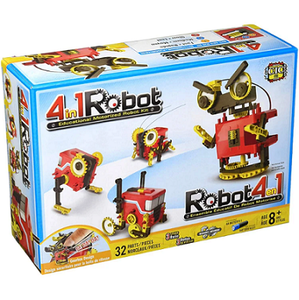 Educational science activity kit with a build your own 4 in 1 motorized robot activity