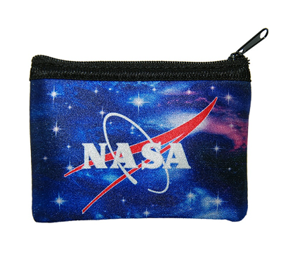 A small neoprene coin pouch with a black zipper closure. The exterior of the pouch has a blue and purple outer space themed print and the NASA logo is printed on the centre of the pouch.