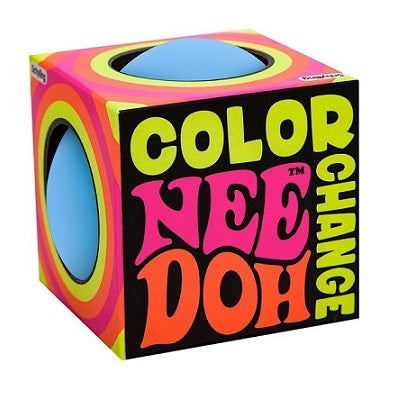 Retail packaging for colour changing stress ball with psychadelic pattern and lettering