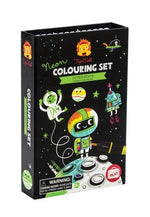 Load image into Gallery viewer, Black boxed science activity kit of a neon colouring set depicting outer space drawings
