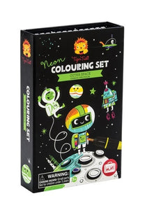 Black boxed science activity kit of a neon colouring set depicting outer space drawings