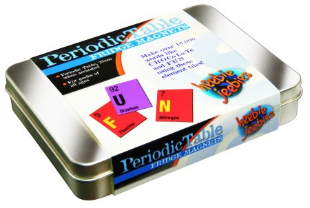 Tin box of multicoloured fridge magnets in the style of the Periodic Table