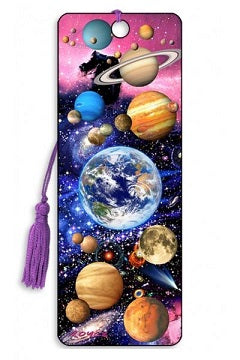 Colourful 3D lenticular bookmark with space and planets theme and purple tassel