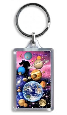 Colourful 3D lenticular keychain with space and planets theme