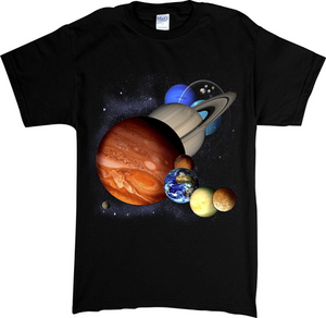Black youth t-shirt with screen printed design of the solar system and all 8 planets