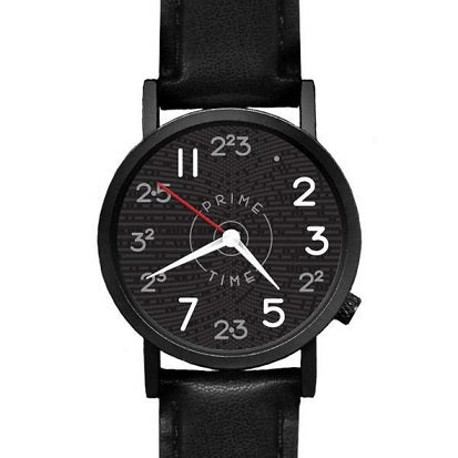 Black watch with prime numbers making up the watch face and black leather band
