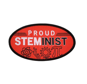 "A black and red iron on patch with text that reads ""Proud Steminist"". There is a neutron, a gear, and the pi symbol below the text."