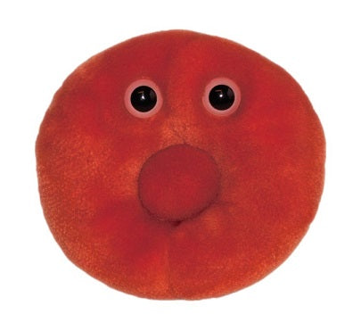 Plush stuffed toy of an anthropomorphized red blood cell (erythrocyte)
