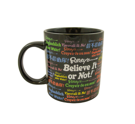 Black ceramic mug printed with Ripley's Believe It or Not! logo printed in several colours and in many different languages