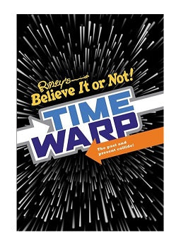 "A black hardcover book with a white 'warp speed' design. There is text in the centre of the cover that reads ""Ripley's Believe It or Not! Time Warp: The Past and Present Collide"""