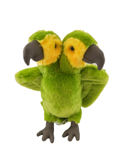Two headed green and yellow parrot plush toy