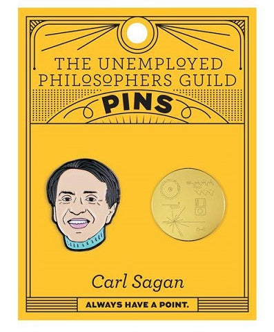 Orange card with 2 enamel pins - one of Carl Sagan's head and one of the Golden Record
