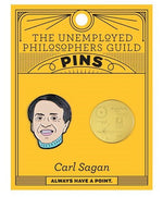Load image into Gallery viewer, Orange card with 2 enamel pins - one of Carl Sagan's head and one of the Golden Record