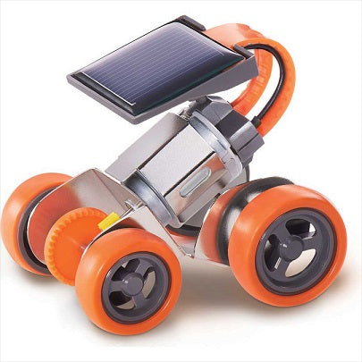 Assembled orange solar powered metal racer toy