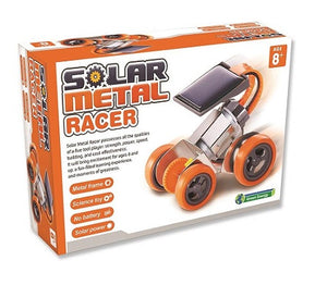 Boxed educational science activity kit with build your own solar metal racer activity