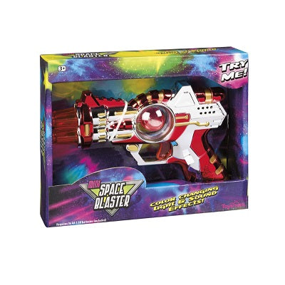 Retail packaging for the Mini Space Blaster. The Space Blaster is a metallic gun-style toy that has colour changing light and sound effects.