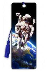Multicolour 3D lenticular bookmark with blue tassle and astronaut floating above the earth on a spacewalk