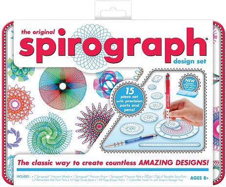 Retro Spirograph art activity kit in a tin
