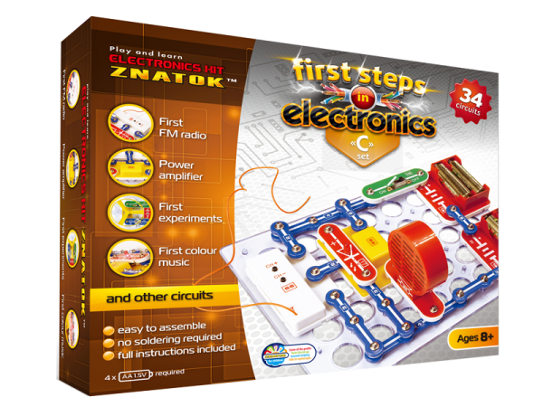 Educational science activity kit with beginning electronics activities