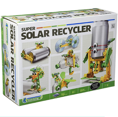 Educational science activity kit with a build your own super solar recycle activity using recycled materials