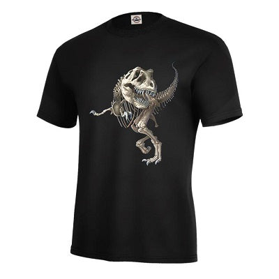 Black youth t-shirt with screen printed design of an articulated t-rex skeleton