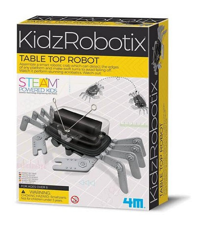 Educational science activity kit with a build your own table top robot activity