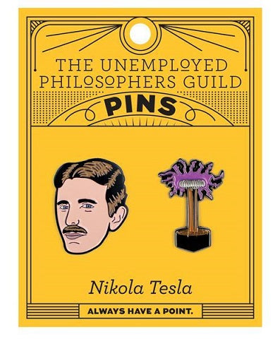 Orange card with 2 enamel pins - one of Nikola Tesla's head and one of van der Graff generator