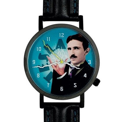 Black watch with black leather band with  Nikola Tesla design on watch face and lightning bolt watch hands