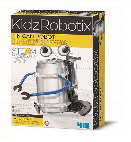 Educational science activity kit with a build your own tin can robot activity