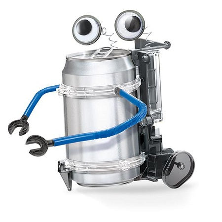 Assembled tin can robot complete with arms and googly eyes