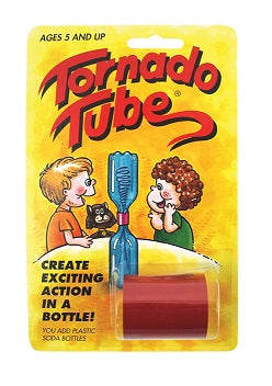 "Retail packaging for the Tornado Tube, which is a plastic joiner. Text on the packaging states that ""You add plastic soda bottles [to] create exciting action in a bottle!"" There is also an illustration demonstrating a Tornado Tube in use - to screw together the tops of two plastic pop bottles"