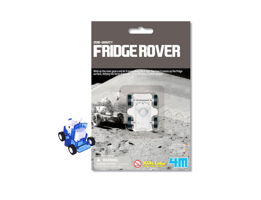 Wind-up magnetic moon rover style toy that will 'drive' across a refrigerator next to its retail packaging