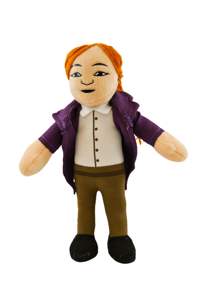 Scientist plush toy with feminine appearance: long red hair, pale skin, and purple lab coat
