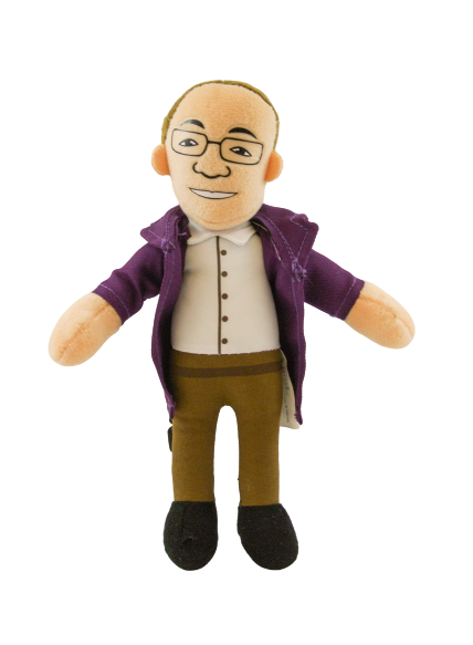 Scientist plush toy with masculine appearance: short brown hair, glasses, pale skin, and purple lab coat