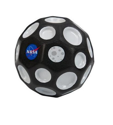 Black NASA themed Waboba bouncing ball with black and white crater pattern and NASA logo