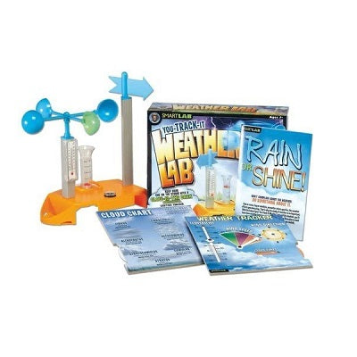 Retail packaging for the Weather Lab kit with kit components displayed. Includes cloud chart, weather tracker, thermometer, weather vane, rain gauge, compass, and speed indicator.