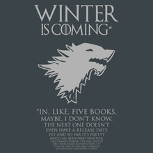 Load image into Gallery viewer, Winter Is Coming* Fine Print T-Shirt - Nat 21 Workshop