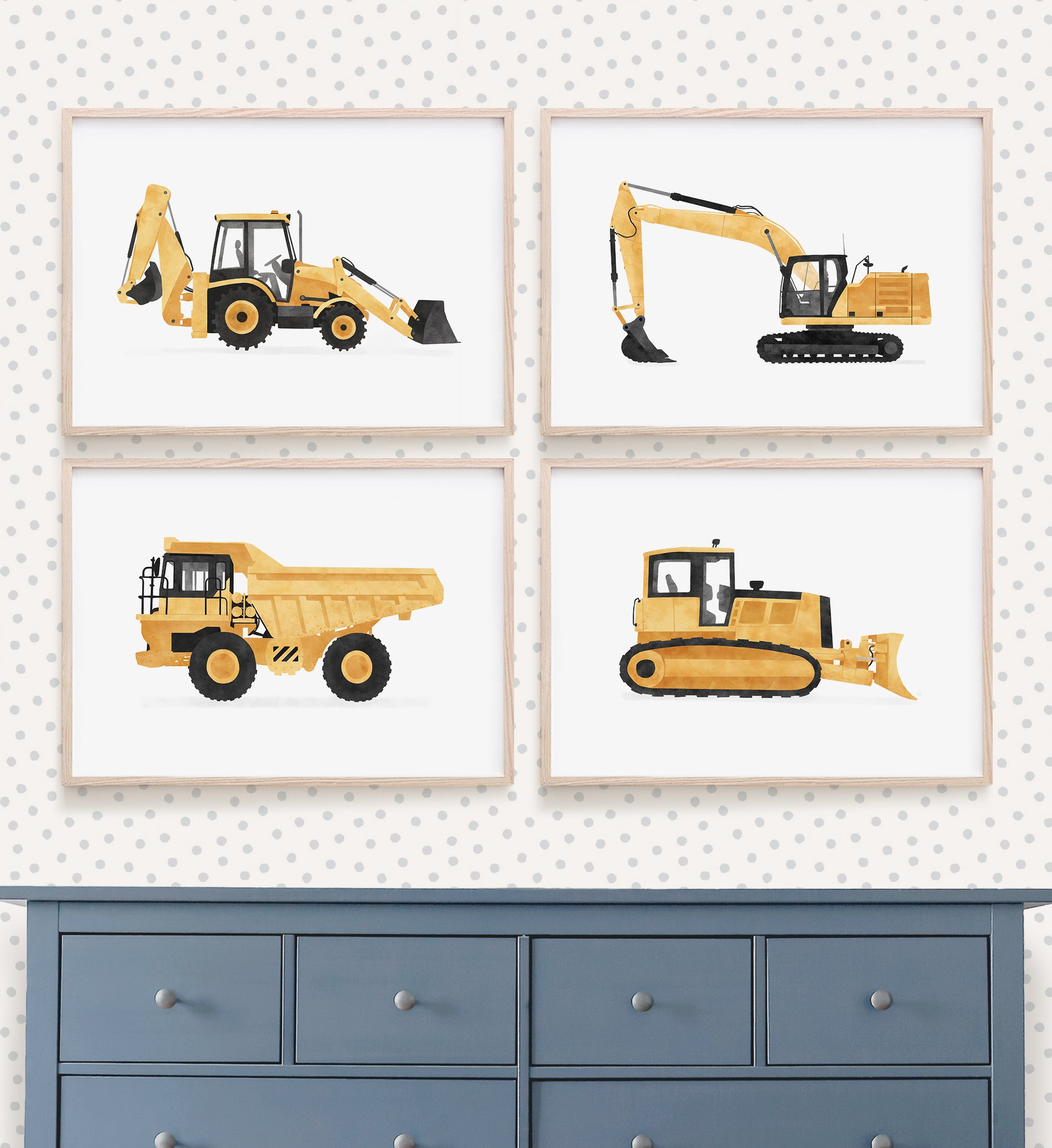 Set of 4 Construction Vehicles - Yellow