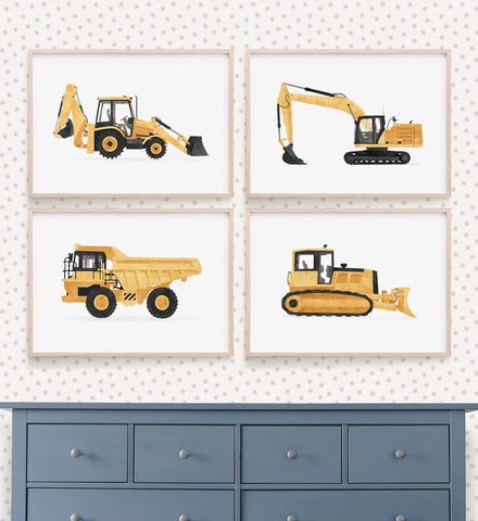 Yellow Construction Vehicles - Set of 4 Prints