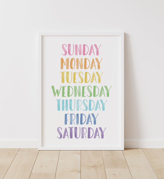 Pastel Rainbow Days of the Week Print
