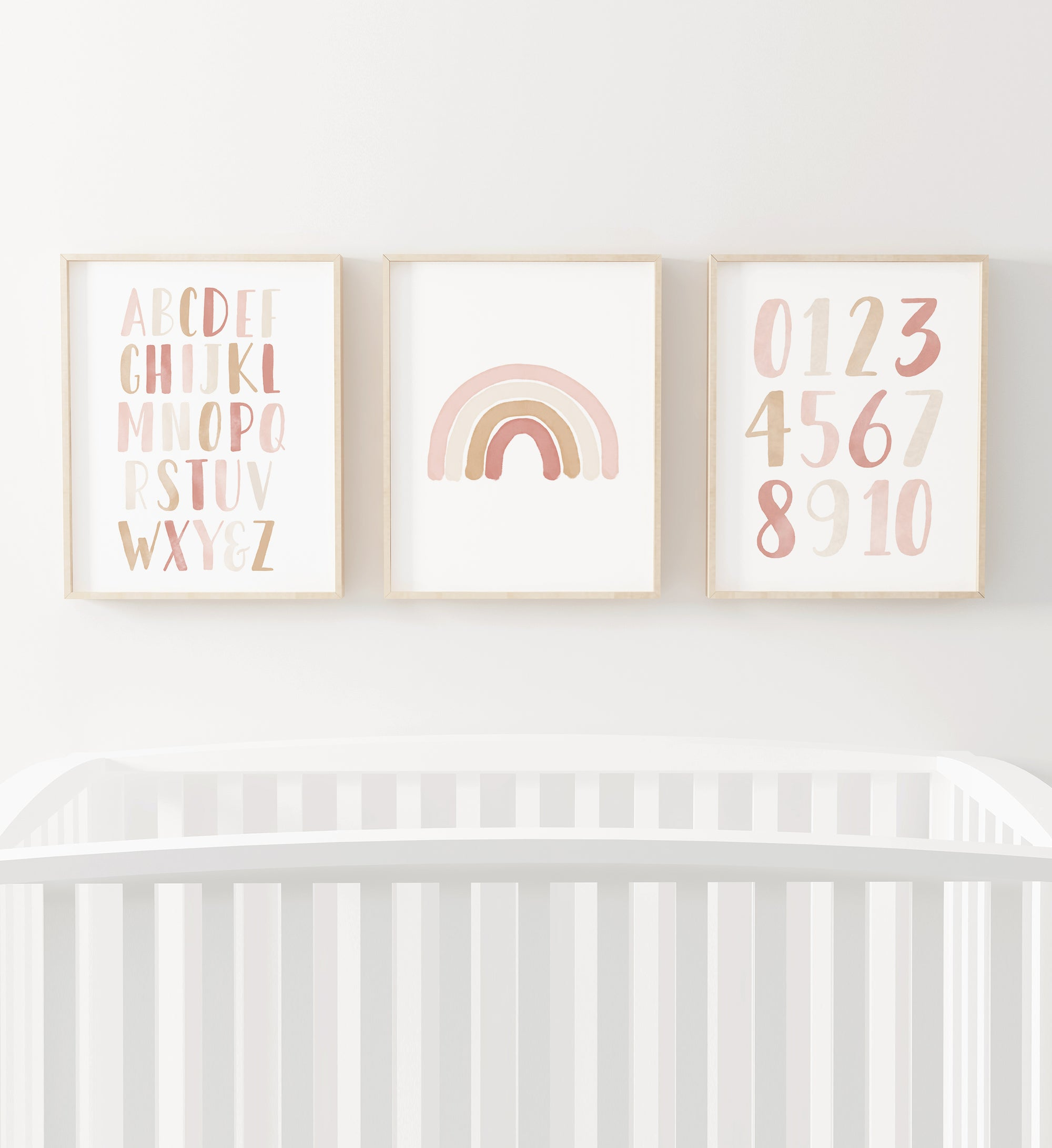 Rainbow, Alphabet & Numbers - Pink and Neutral