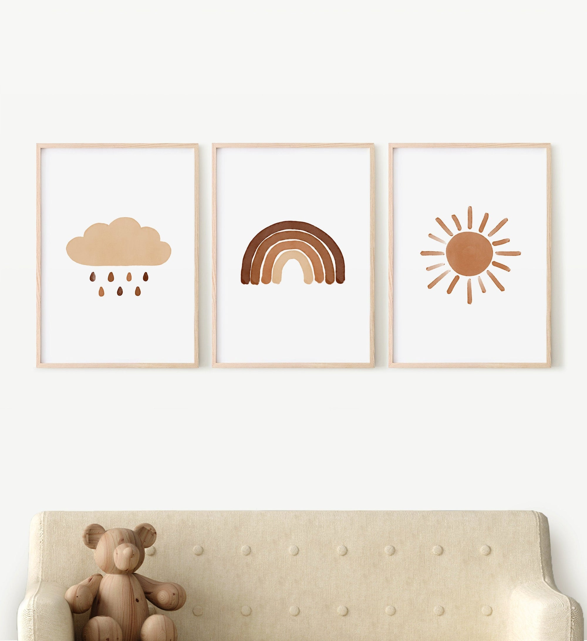 Rainbow, Cloud, and Sun Set of 3 Prints - Burnt Orange