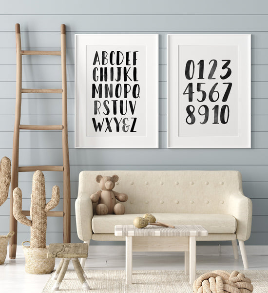 Black Alphabet and Numbers Set of 2 Prints
