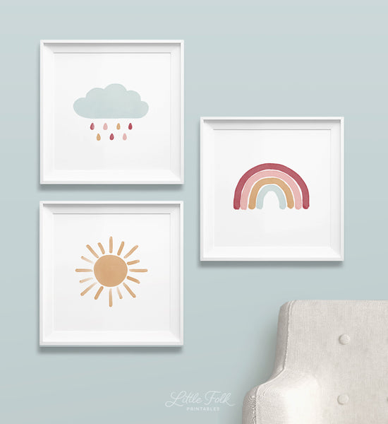 Pink and Blue Rainbow, Cloud, and Sun Set of 3 Prints