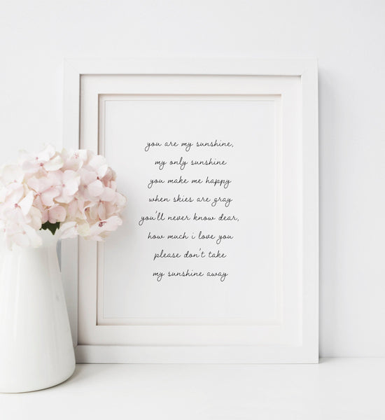 You Are My Sunshine Lyrics Print