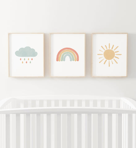 Rainbow, Cloud, and Sun Set of 3 Prints