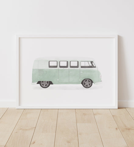 Mint Green Van Print