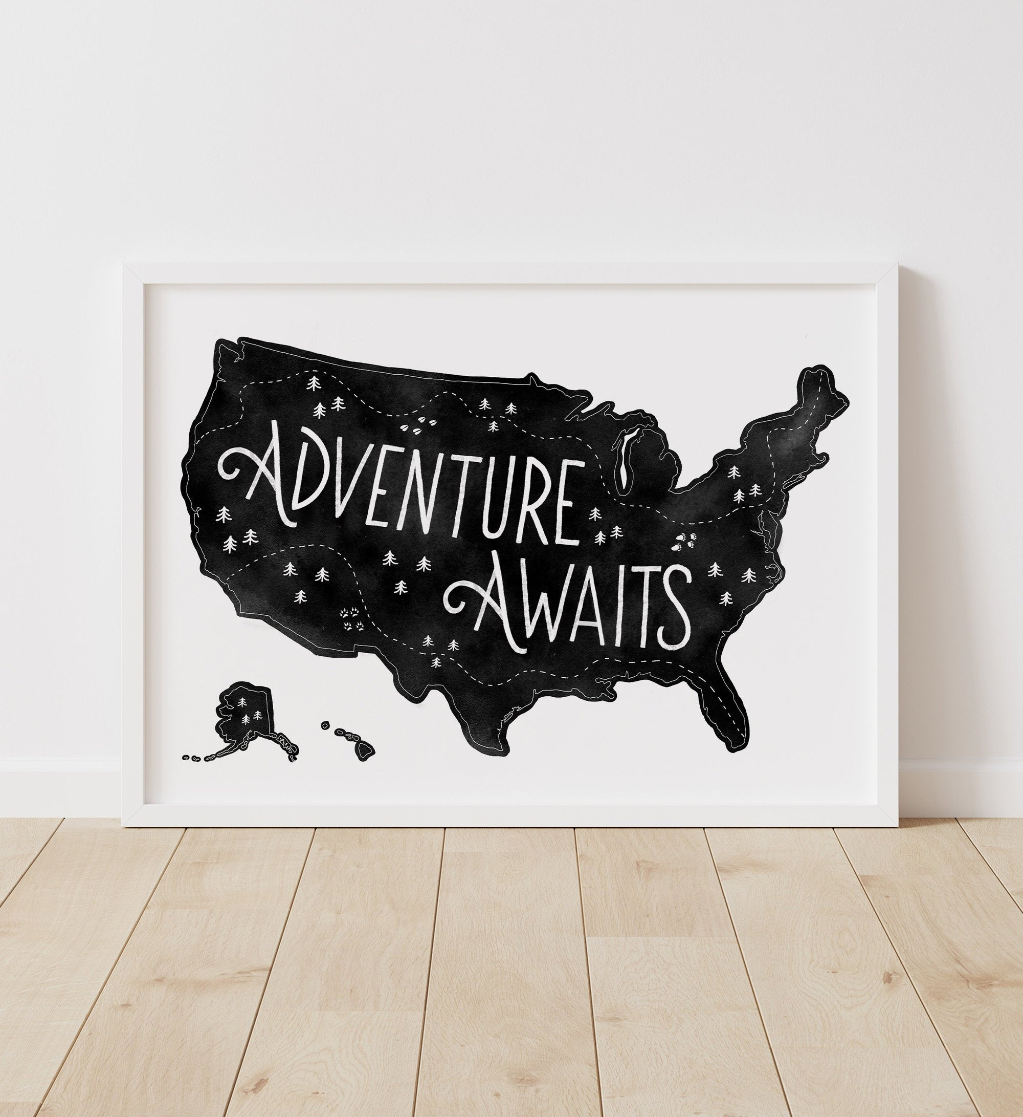 Adventure Awaits Map - Black