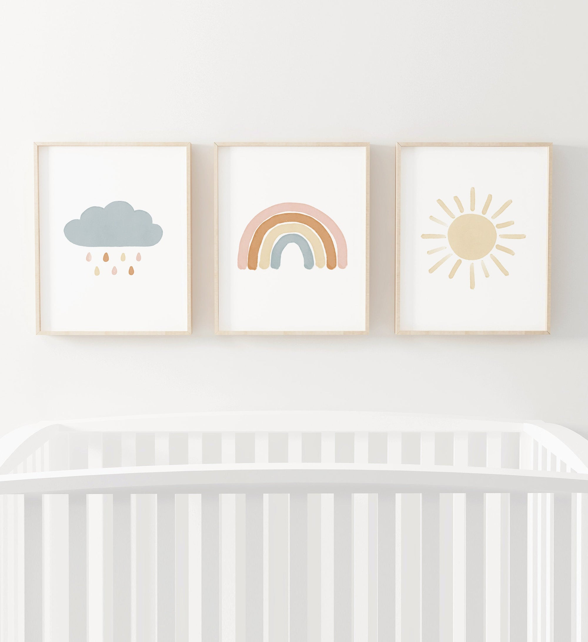 Rainbow, Cloud, and Sun Set of 3 Prints - Boho